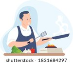 a professional chef is cooking... | Shutterstock .eps vector #1831684297