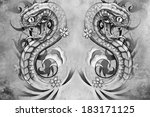 tattoo design over grey... | Shutterstock . vector #183171125