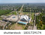 aerial photography of faisal masjid , an aerial landscape photography of a city of Islamabad ,the capital of Pakistan