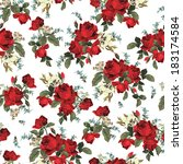 Stock vector seamless floral pattern with of red roses on white background vector illustration 183174584