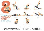 infographic 8 yoga poses for... | Shutterstock .eps vector #1831763881