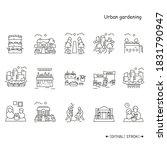 urban gardening line icons set. ... | Shutterstock .eps vector #1831790947