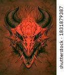 Red Dragon In Stone Background