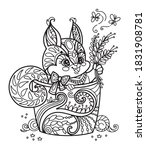 line art cute squirrel in a cup.... | Shutterstock .eps vector #1831908781