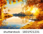 Calm Pond And Autumn Forest At...