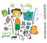 travel picnic doodle | Shutterstock .eps vector #183193955