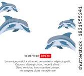 dolphin aquatic mammal icon on... | Shutterstock .eps vector #1831955341