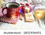 Red Mug With Tea In Christmas...