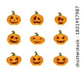 smiling pumpkins isolated on...   Shutterstock . vector #1831957987