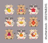 2021 year of the ox. cute... | Shutterstock .eps vector #1831968241