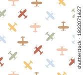plane flying seamless pattern.... | Shutterstock .eps vector #1832071627