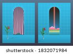 space age arched doorways with...   Shutterstock .eps vector #1832071984