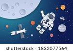 Paper Cut Space. Astronaut With ...