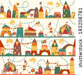 seamless pattern with houses... | Shutterstock .eps vector #183208781