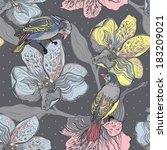 Birds And Flowers. Hand Drawn...