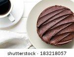 Top View Of Dark Chocolate Cake