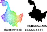 Wire frame and solid map of Heilongjiang Province. Vector model is created from map of Heilongjiang Province with intersected random lines, and has rainbow gradient.