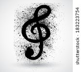 brushed clef  music key.grunge... | Shutterstock .eps vector #183223754