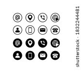 business card icon set in black.... | Shutterstock .eps vector #1832244481