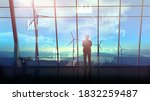 silhouette of a businessman in... | Shutterstock . vector #1832259487