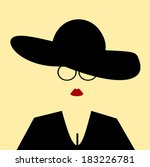 woman with floppy hat and... | Shutterstock .eps vector #183226781