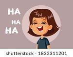 little girl laughing vector... | Shutterstock .eps vector #1832311201