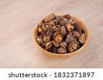 dry shiitake mushroom in wooden ...   Shutterstock . vector #1832371897