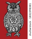 doodle style owl decorated with ... | Shutterstock .eps vector #1832398381