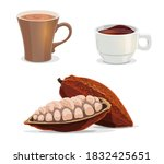 cocoa beans  cacao  hot... | Shutterstock .eps vector #1832425651
