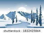 winter snow pine mountain...   Shutterstock .eps vector #1832425864