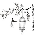 birds out of cages. spring... | Shutterstock .eps vector #183244589