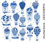 set of  hot air balloons... | Shutterstock .eps vector #1832448991