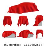 realistic red wrinkled elegance ... | Shutterstock .eps vector #1832452684