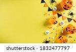 top view of halloween crafts ... | Shutterstock . vector #1832477797