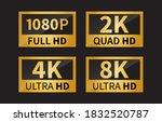 8k ultra hd icon  4k ultra hd ... | Shutterstock .eps vector #1832520787