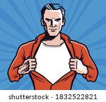businessman rips his shirt.... | Shutterstock .eps vector #1832522821