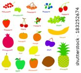 set handdrawn fruits and... | Shutterstock .eps vector #183252674