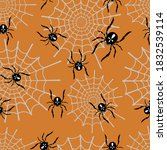 spiders on the web on an orange ... | Shutterstock .eps vector #1832539114