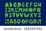 Green Dinosaurs Alphabet. Font...