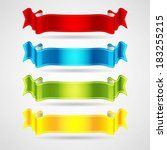 colorful ribbons set | Shutterstock .eps vector #183255215