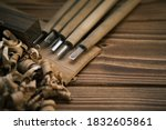 Close Up View Of A Set Of Wood...