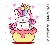 cute unicorn princess vector...   Shutterstock .eps vector #1832607661