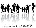 family silhouettes | Shutterstock .eps vector #183262565