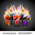 burning slot machine wins wins... | Shutterstock .eps vector #1832650807