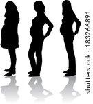 silhouette of the pregnant... | Shutterstock .eps vector #183266891
