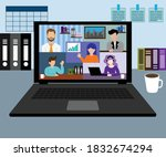 work from home. video... | Shutterstock .eps vector #1832674294