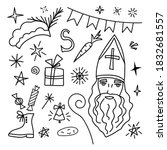 Hand-drawn vector doodle set in black outline. Saint Nicholas Day, Sinterklaas. Traditional holiday. Elements for Christmas, New Year