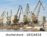 port on river with cargo cranes | Shutterstock . vector #18326818