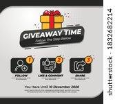 giveaway banner template design ... | Shutterstock .eps vector #1832682214