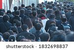 Small photo of TOKYO, JAPAN -MAR 2020 : Back shot of unidentified crowd of people walking down the street in busy rush hour. Many commuters going to work. Japanese business man and woman, job and lifestyle concept.